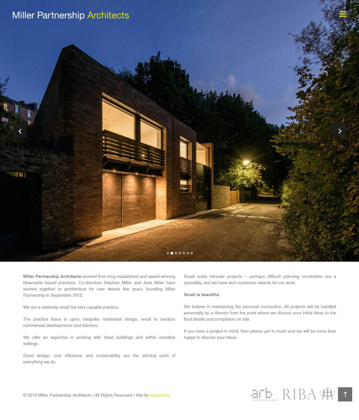 Miller Partnership Architects homepage