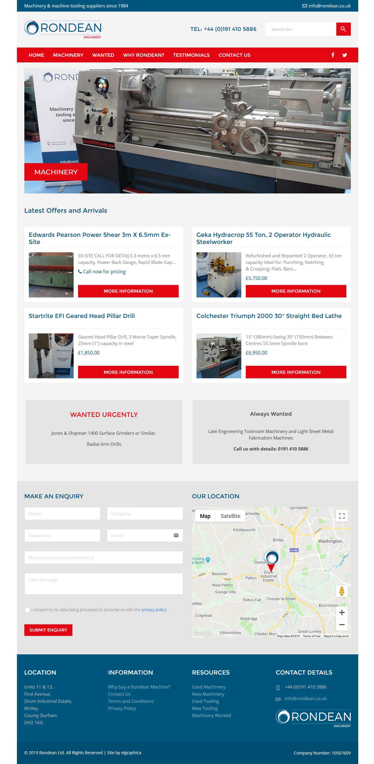 Rondean Machinery homepage